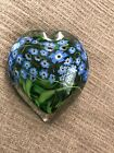 Shawn Messenger Fine Art Glass Heart Forget Me Not Flower Paperweight
