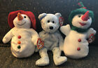 Ty Beanie Babies Flaky Chillin' Snowgirl Snow Set Of 3 Snowman Snowflakes