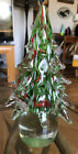VTG Murano Clear Red Green White Hand Blown Art Glass Christmas Tree 1075 WOW