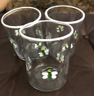 Hand Blown Drinking Glasses Bug Art Glass Applied Set Of 3