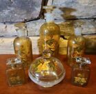 Vintage Vanity Set Painted Peach Rose Textured Paint On Glass Bottles Gold