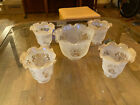 Antique Vintage Set 5 Ruffled Etched Glass Light Shades 1 Lg 4 Sm Missing Chunk
