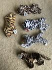 TY Beanie Babies Jungle Cats Blizzard Stripes Freckles Sneaky Prance PVC PE