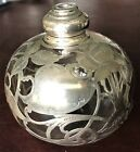 ART NOUVEAU STERLING SILVER OVERLAY GLASS ATOMIZER PERFUME BOTTLE also MARKED