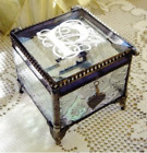 Victorian Monogram Stained Glass Keepsake Box with a Charm