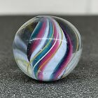 Antique Vintage 77 German Green Pink White Jelly Solid Core Swirl Glass Marble