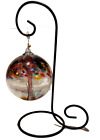 Kitras LRG Art Glass Tree of Life Hand Blown Clear Globe Colorful Tree W Stand