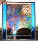 Stained Glass Window Panel Northern Lights blue purple