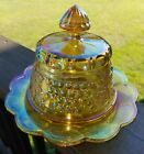 Vintage Marigold Grape  Cable Covered Butter Dish Iridescent Carnival Glass