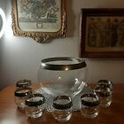 Vintage large Glass Punch Bowl And 7 Glasses