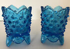 Fenton Glass Hobnail Beautiful Blue Toothpick Or Candle Holders Votives Footed