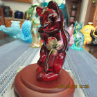 BEAUTIFUL RUBY RED FENTON CAT W FLOWERS  STAND SIGNED