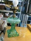 Vintage Victorian Style Green Glass Electric Table Lamp