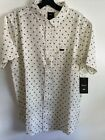 New RVCA Art Network Graphic Street Style Designer Button Font Shirt Size Large
