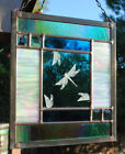 Stained Glass Window Panel dragonfly turquoise green blue