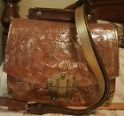 Patricia Nash Stella Flap Shoulder Hand Bag in metalic gold distressed leather