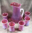 Fenton Cranberry Opalescent Swirl Water Set With Six Tumblers3148CR