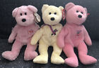 Ty Beanie Babies Mother Mum MOM-e Mother's Day Bears Set Of 3 Pink Yellow Flower
