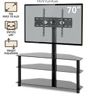 Swivel Glass TV Stand w Mount Height Adjust for 32 70inch LED TV High Quality