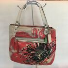 Coach Poppy Signature Coral Ivory Canvas Sequined Glam Tote Purse 19029
