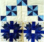 4 quilted blue aqua winter blocks 12 x 12 inches unfinished top blocks