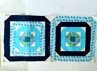 2 quilted blue aqua green blocks 18 x 18 inches unfinished top blocks set 7