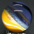 Eric Brock 117 Glass Marble Candy Vivid Blue Yellow Bands Dichroic Sparkle