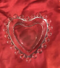 Vintage Clear Glass Boopie Bubble Heart Trinket Candy Dish EUC