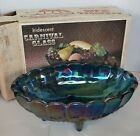 Indiana Blue Carnival Glass Harvest Grape Large Footed Oval Fruit Bowl With Box