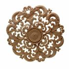 Round Woodcarving Decal Home Decorative Wood Appliques Carved Applique Window