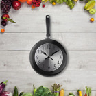 Kitchen Wall Clock Home Decorative Stainless Steel Hanging Frying Pan Black 10in