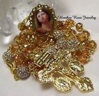 HANDCRAFTED GOLD ROSARY PARDON VERSED CRUCIFIX GLASS MARY CAMEO LT ORANGE GLASS