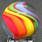 Eric Brock 117 Glass Marble Red Line Rainbow Bold Color Dichroic Sparkles
