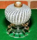 Sheldon Swirl White Opalescent Reverse Crystal Clear Footed Finger Oil Lamp