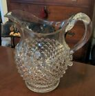 Antique Eapg Diamond Point Water Pitcher Applied Handle Pattern Glass