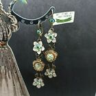 Michal Negrin Long Fairy Flowers Earrings Glass  Swarovski Crystals Gift NWT