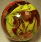 152 ELECTRIC RED FLAME GOLD LUTZ SWIRL NEW STUDIO ART GLASS HOME DECOR
