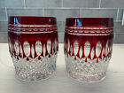 Waterford Crystal Clarendon Ruby Red Tumbler Highball Glass Pair Excellent