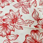 4 Yards Vtg Cotton Quilt Craft Clothing Fabric Red White Floral Wamsutta 45 w