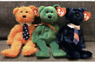 Ty Original Beanie Babies Pappa Pops DAD-e Father's Day Bears Set Of 3 Ties
