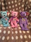 TY Beanie Baby Babies Eggs I II 1 2 & 3 Bear Set Collection Original Pink Blue