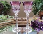 Beautiful SET OF 2 Purple Cut to Clear Crystal Glass Liqueur Cordial Glasses