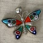 Murano glass Butterfly Millefiori Pendant sterling silver Italy