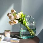 Glass Flower Vase Bag Container Basket Eco Friendly Green Glass Home Decoration