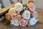 Bunch of 7 Realistic Antique Pink  White Roses Artificial Faux Silk Flowers