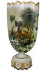 Large Victorian Bristol Glass Hand Painted Stag Hunting Scene Gilded Mantle Vase