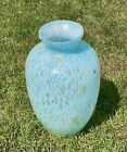Large Murano Blue White And Gold Confetti Speckled Art Glass Vase 16 Italy