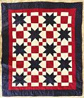AMERICANA PATRIOTIC RED WHITE BLUE STAR SPANGLED HAND CRAFTED QUILT 42 X 495