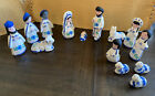 Vintage Hand Painted Nativity Set from Mexico Folk Art Pottery Blue White