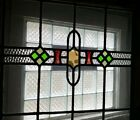 Large Vintage Early 1900s Leaded Stained Glass Window Ready to Hang NO SHIP